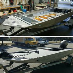 Before  and after of an awesome Custom Jon boat build.