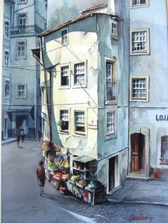 Cunha Rocha - Aguarela - Coimbra Andrew Wyeth, Lisbon Portugal, Shelters, Watercolours, Painters, Home Art, Buildings, Landscapes, Art Gallery