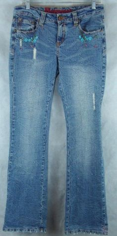 """Request Denim Blue Embroidered Distressed Stretch Jeans Size 30 ~~ 32"""" X 33"""" #Request #BootCut"""