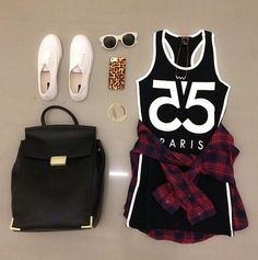 Teenage Fashion Blog: Plaid # Paris Teenage Fashion Look !