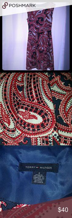 Tommy Hilfiger Red, White & Blue Paisley Dress Tommy Hilfiger Red, White & Blue Paisley Dress, Fully Lined, front pockets, matching navy belt, Size 4 Tommy Hilfiger Dresses