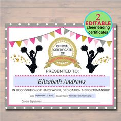 editable cheerleader certificate instant download cheerleading award cheerleading printable sportsmanship award sports