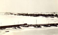 Havnen ved Kalvehave Færgegård i vinteren 1942. Fra Line Thorngaards arkiv.