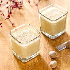 Have you been noggy or nice?  Give your holiday plans a delicious, nutmeggy boost when you sip on a frothy glass of eggnog protein shake.