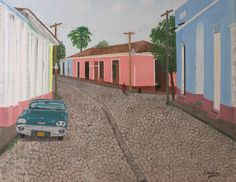 """Oil painting titled """"Cuba - Trinidad Street"""" done on a 16"""" x 20"""" x 3/4 canvas. Available at www.etsy.com/shop/apaintedcanvas."""