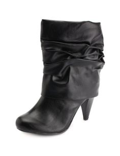 Fold-Over Cone Heel Bootie Fold Over Boots, Fall Looks, Charlotte Russe, Style Me, Booty, Hair Styles, Heels, How To Wear, Clothes