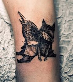 bird surreal tattoo