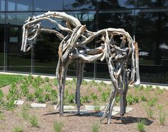 """This is my favorite sculpture on the L campus. It's made entirely of bronze, but looks like drift wood. """"Untitled"""" by Debra Butterfield"""