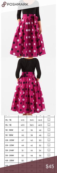 "Eshakti Polka Dot Dress Beautiful Knit Top with polka dot skirt. Actual dress has shorter sleeves than stock photo. Chest is 25""across laying flat, waist is 23""across, length is 43"". This dress comes with the sash and has pockets! eshakti Dresses"