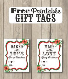 Free printble christmas labels for your homemade baked goods baked with love and made with love free printable gift tags sohosonnet creative living negle Images