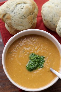Pumpkin and White Bean Bisque with Sage Pesto and Dill Rolls