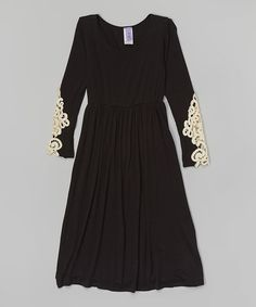 Another great find on #zulily! Black Crotchet Lace Maxi Dress - Girls #zulilyfinds