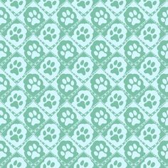 Cats_Paws_Aqua fabric by art_on_fabric on Spoonflower - custom fabric