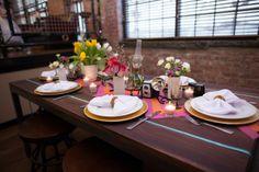 Modern decor and bold colors are a great idea for a 2014 wedding! #modernhipster #eclecticweddings  #orangemintwedding #boldcolors #uniquenjvenues #feuzareis #modernweddingideas