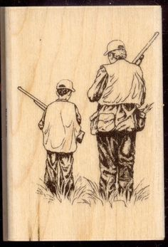 STAMPABILITIES rubber stamp HUNTER WITH SON Hunting, Masculine, Father's Day #Stampabilities