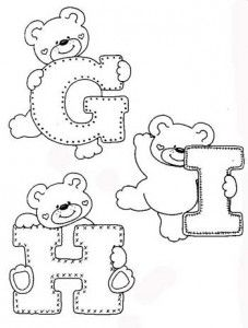 Fonts Alphabet Discover - alphabet and teddy coloring Coloring Letters, Alphabet Coloring Pages, Colouring Pages, Coloring Books, Felt Patterns, Applique Patterns, Applique Designs, Embroidery Alphabet, Baby Embroidery