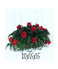 Red Rose Headstone Saddle, Cemetery Flowers, for Valentines Day, Grave Decorations, Cemetery Arrange Flowers For Valentines Day, Valentines Day History, Cute Valentines Day Ideas, Valentines Day Decorations, Grave Flowers, Cemetery Flowers, Funeral Flowers, Dark Red Roses, Dark Flowers