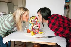 A 3D Cake Portraying a Half-Dissected Ralph Wiggum From 'The Simpsons' That Is Based on a Threadless T-Shirt Design