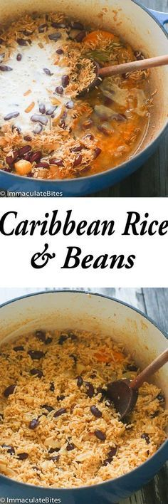 Caribbean Rice and Beans- Seasoned with garlic and onions and creole spice. Infused with bay leaves, thyme, Scotch bonnet and coconut milk. If you delight in traditional Caribbean food then you should consider making this scrumptious rice and beans. Carribean Food, Caribbean Recipes, Caribbean Chicken, Caribbean Rice And Beans, Vegetarian Recipes, Cooking Recipes, Cooking Games, Rice Recipes, Rice And Beans Recipe Vegetarian
