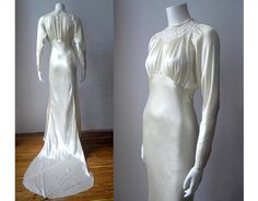 1930s wedding dress/ 30s silk wedding dress /