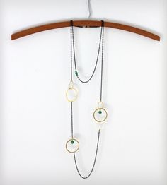 Orbital Brass Necklace with Green Beads