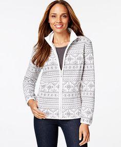 Karen Scott Printed Zippered Jacket, Only at Macy's - Jackets & Blazers - Women - Macy's