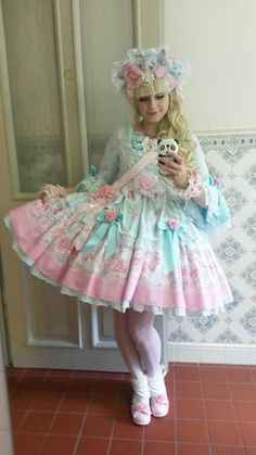 Romantic Rose Letter Special OP Set from Angelic Pretty in mint. | for work design | Pinterest | Kawaii Fashion | Pinterest