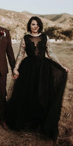 Dark Romance: 27 Gothic Wedding Dresses ❤ gothic wedding dresses a line lace top country tulle skirt sweetcarolinestyles ❤ #weddingdresses Sheer Lace Top, Black Wedding Dresses, Gothic Wedding, Every Girl, Bridal Gowns, Most Beautiful, Top Country, Romance, Dark
