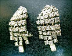BOMBSHELL Vintage Deco Rhinestone Crystal Earrings by JackpotJen, $26.00
