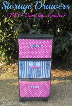 Storage Drawers (DIY - Duct Tape Crafts) - Update (and hide the content!) of a storage drawer in under an hour with Duct Tape Diy Projects For Bedroom, Diy Projects To Try, Craft Projects, Bedroom Hacks, Craft Ideas, Duct Tape Projects, Duck Tape Crafts, Decor Crafts, Fun Crafts