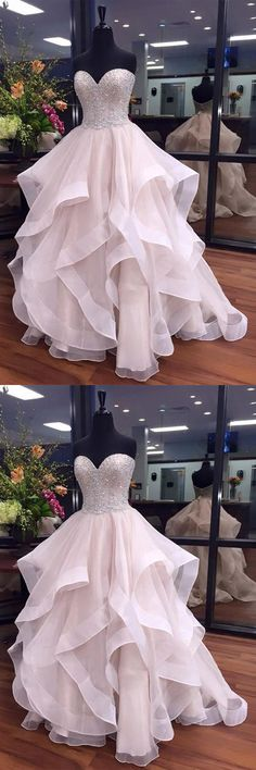 Ball Gown Prom Dresses Long, 2018 Formal Dresses Sweetheart Organza with Beading, Modest Evening Party Dresses Cheap Online,011