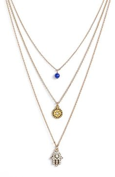 $48 Sequin 'Color Karma' Triple Strand Pendant Necklace available at #Nordstrom