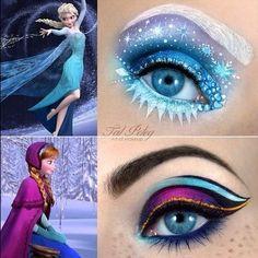 kermitkisser: I found this AMAZING eye makeup on Facebook!! Frozen Elsa and Ana Eye Makeup
