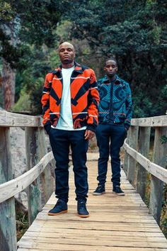 Men model bomber jackets made from Basotho blankets by designer Sean Shuter in Cape Town. African Dresses Men, African Men Fashion, African Attire, African Print Clothing, African Prints, South African Design, Sewing Men, Afro Men, African Textiles