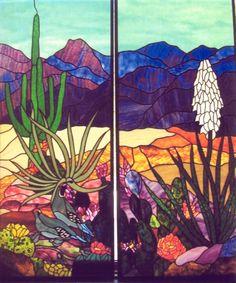 Desert scene stained glass