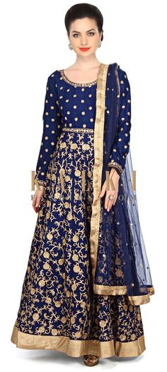 Navy blue anarkali suit embellished in aari embroidery only on Kalki Indian Bridal Outfits, Pakistani Outfits, Indian Dresses, Bollywood Dress, Bollywood Fashion, Indian Attire, Indian Wear, Desi Clothes, Indian Clothes