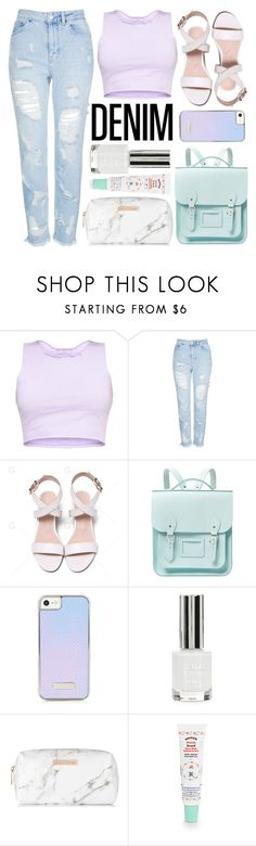 """Distressed Denim"" by minchu ❤ liked on Polyvore featuring Topshop, The Cambridge Satchel Company, Spectrum and Smith's"