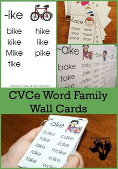 Free CVCe Word Family Wall Cards: with the following endings: -ace, -age, -ake, -ale, -ame, -ane, -ape, -ase, -ate, -ave, -ice, -ide, -ife, -ike, -ile, -ime, -ine, -ipe, -ise, -ite, -obe, -ode, -oke, -ole, -ome, -one, -ope, -ose, -ote, -ube, -ude, -ule, -une - 3Dinosaurs.com