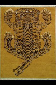 Tibetan tiger rug - gabbeh - wool on cotton