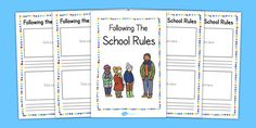 Use this booklet to record down the different school rules with a handy picture to illustrate either bad behaviour or good behaviour! Booklet, Behavior, Songs, School, Behance, Schools, Manners
