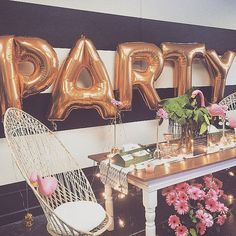 """""""{Throw a PARTY!} We think Letter Balloons are Party Must-Haves! Find letter balloons in gold or silver in our shop! 💕photo via source unknown…"""" Party Knaller, Ballon Party, Festa Party, Party Time, Posh Party, Sweet 16 Parties, Grad Parties, Holiday Parties, Perfect Party"""