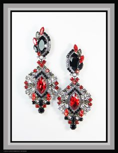 Elaborate chandalier earrings in Swarovski Jet, Black Diamond, Crystal and Siam Ruby - custom-made for client-directed design - Gun Metal plated - Made by Bryan Greenwood of Crystal Countess / Jewellery by Greenwood Design