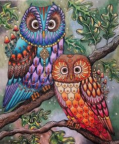Finished this Mama and Papa owl today and also added some extra leaves to make it look more like a forest. Owl Coloring Pages, Coloring Book Art, Colouring, Owl Pictures, Colorful Pictures, Owl Wallpaper, Art Africain, Owl Art, Cute Owl