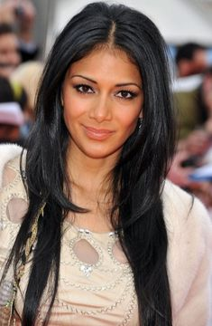 Center Parted Long Black Straight Hairstyle for Women Nicole Scherzinger Hairstyles