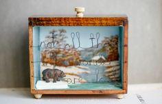 """The Wanderer"" (winter version) storybox sculpture. Vintage upcycled artwork by Little Burrow Designs, Claire Read.  Upcycled / recycled /reworked vintage sculpture. Textiles, embroidery, mixed media, assemblage, wirework, tin art, altered tin art, reuse, repurpose, handmade, reclaim , relove, bear, travelling, traveller, wandering, adventure, nostaglia, shadowbox, art, craft, devon.  www.littleburrowdesigns.co.uk www.facebook.co.uk/littleburrowdesigns"