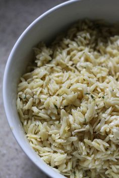 Lemon Thyme Orzo is an easy, classy side that pairs well with just about anything! {Brittany's Pantry}