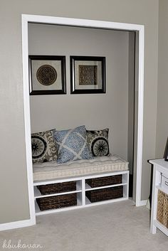Closet reading nook in office