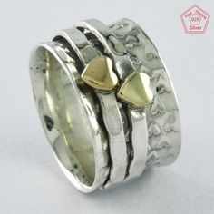 Size 8 US, TWO HEART HAMMERED 925 STERLING SILVER SPINNER RING, RN4395 #SilvexImagesIndiaPvtLtd #Spinner