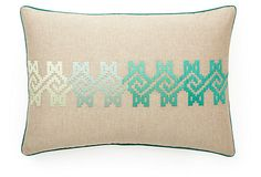 Maze 14x20 Embroidered Pillow, Green