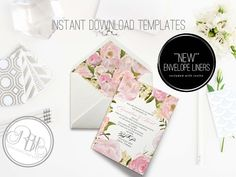 Pink Peony Wedding Invitation by RBH Designer Concepts on @creativemarket